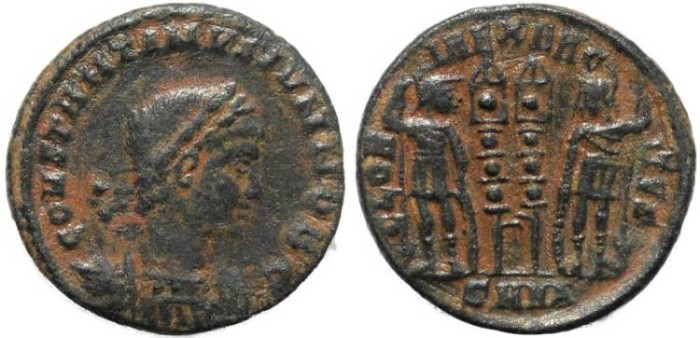 Ancient Coins - Constantine II - GLORIA EXERCITVS - Nicomedia Mint
