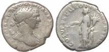 Ancient Coins - Roman coin of Trajan AR silver denarius - COS V PP SPQR OPTIMO PRINC