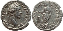 Ancient Coins - Roman coin of Antoninus Pius AR silver denarius
