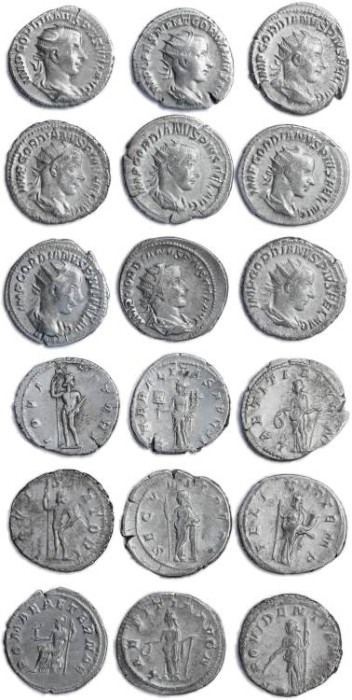 Ancient Coins - 9 Roman silver antoninianus of Gordian III