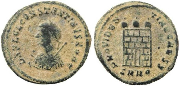 Ancient Coins - Constantine II Campgate with 6 levels - Heraclea Mint