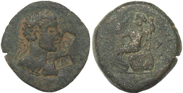 Ancient Coins - Roman Provincial coin of Caracalla - Syria, Seleuicis and Pieria, Laodicea ad Mare- two countermarks