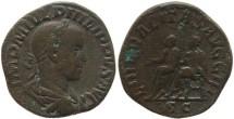 Ancient Coins - Philip II Ae Sestertius - LIBERALITAS AVGG III, SC