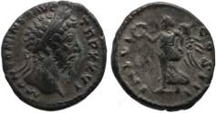 Ancient Coins - Marcus Aurelius denarius -  IMP VI COS III - original toning