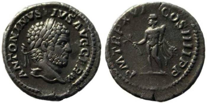 Ancient Coins - Caracalla silver denarius - Hercules - Rome Mint