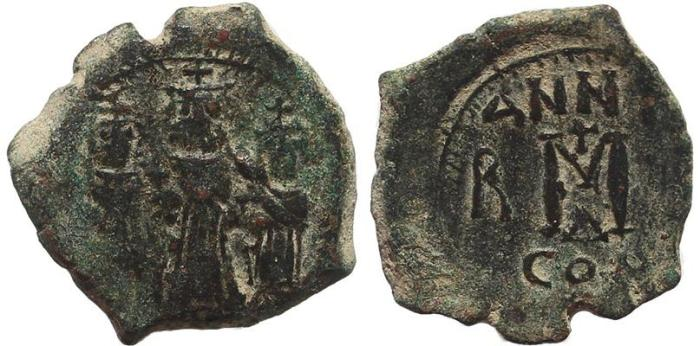 Ancient Coins - Byzantine coin of Heraclius, Heraclius Constantine and Martina AE follis - Constantinople