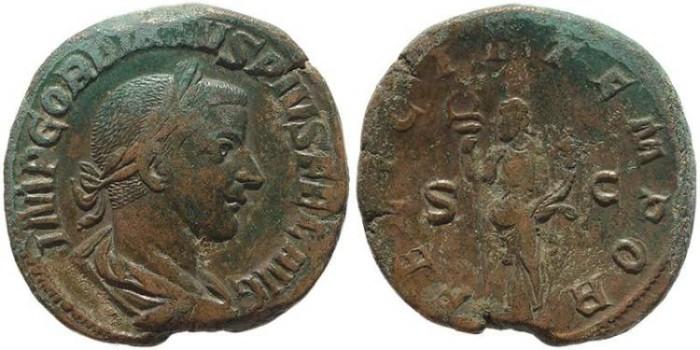 Ancient Coins - Gordian III Ae Sestertius -  FELICIT TEMPOR S-C