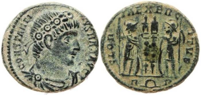 Ancient Coins - Constantine I 307-337AD GLORIA EXERCITVS - Rome Mint