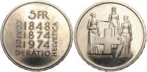 World Coins - SWITZERLAND: 1974 5 Francs