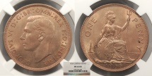 World Coins - GREAT BRITAIN George VI 1938 Penny NGC MS-64 RB
