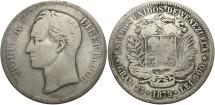 World Coins - VENEZUELA: 1879 5 Bolivares