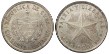 World Coins - CUBA 1920 40 Centavos AU