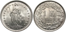 World Coins - SWITZERLAND: 1921 B 1 Franc