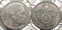World Coins - GERMANY: 1939-F Hindenburg 2 Reichsmark