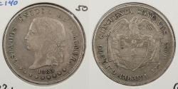 World Coins - COLOMBIA: 1885 Bogota 50 Centavos