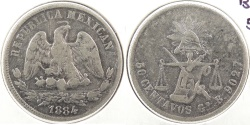 World Coins - MEXICO: 1884-Go B/S 50 Centavos