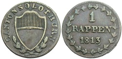 World Coins - SWISS CANTONS: Solothurn 1813 1 Rappen