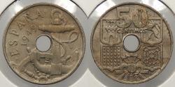 World Coins - SPAIN: 1949(53) Anchor. 50 Centimos