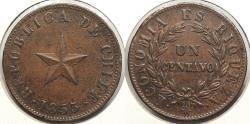 World Coins - CHILE: 1853 Centavo