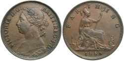 World Coins - GREAT BRITAIN: Victoria 1886 1 Farthing