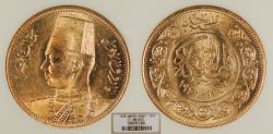 World Coins - EGYPT Farouk 1938 / AH 1357 100 Piastres NGC MS-63