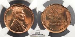 Us Coins - 1921 Lincoln 1 Cent NGC MS-64 RB