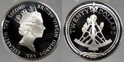 World Coins - BRITISH VIRGIN ISLANDS: 1985 Sextant. 20 Dollars Proof