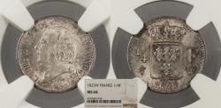 World Coins - FRANCE Louis XVIII 1823-W 1/4 Franc NGC MS-64
