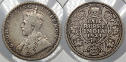 World Coins - INDIA: 1924(b) George V 1/2 Rupee