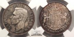 World Coins - CANADA: 1950 50 Cents NGC MS-62