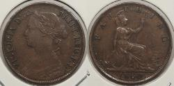 World Coins - GREAT BRITAIN: 1860 Toothed border. Farthing