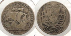 World Coins - PORTUGAL: 1937 5 Escudos