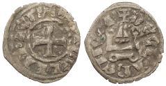 World Coins - CRUSADERS Frankish Greece: Principality of Achaia Isabella de Villehardouin 1297-1301 Denier Nice VF