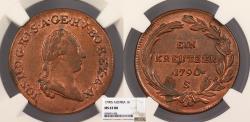 World Coins - AUSTRIA Joseph II 1790-S Kreuzer NGC MS-63 RB