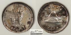 World Coins - BOLIVIA 1852-POTOSI 1/4 Sol ANACS AU-58