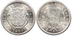 World Coins - COSTA RICA 1905 10 Centimos BU