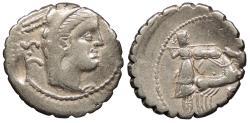 Ancient Coins - L. Procilius 80 B.C. Denarius Rome Mint VF