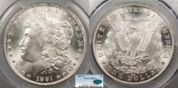 Us Coins - 1891 CC Morgan 1 Dollar (Silver) PCGS MS-63+