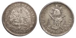 World Coins - MEXICO 1874-Zs A 25 Centavos EF