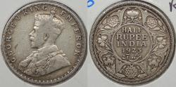 World Coins - INDIA: British Colonial 1923 (b) George V 1/2 Rupee