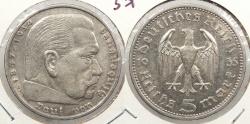 World Coins - GERMANY: 1935-A Hindenburg 5 Mark