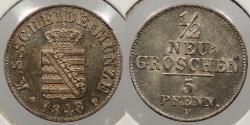 World Coins - GERMAN STATES: Saxony (Sachsen) 1848-F 1/2 Neu-Groschen