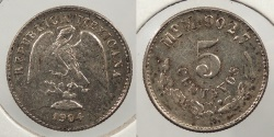 World Coins - MEXICO: 1904-Mo M 5 Centavos