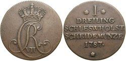 World Coins - GERMAN STATES: Schleswig-Holstein 1787 1 Dreiling