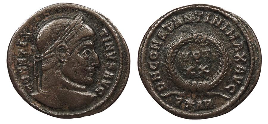 Ancient Coins - Constantine I 307-337 A.D. Follis Arles Mint VF
