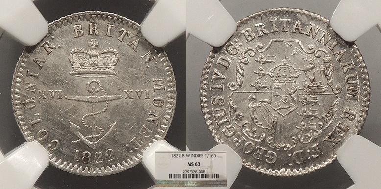 World Coins - BRITISH WEST INDIES George IV 1822 1/16 Dollar NGC MS-63