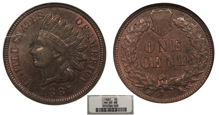 US Coins - 1887  Indian Head 1 Cent  NGC MS-65 BN