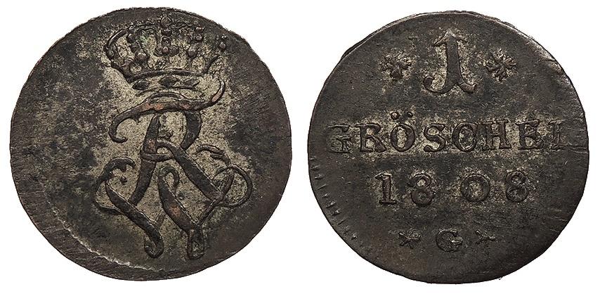 World Coins - GERMAN STATES Prussia, for Silesia Friedrich Wilhelm II 1808-G Groschel EF
