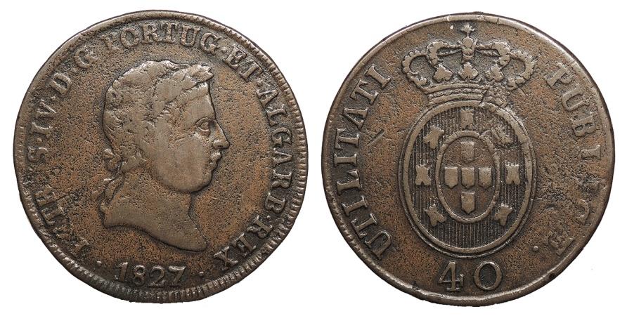 World Coins - PORTUGAL D. Pedro IV 'o Rei Soldado' 1827 Pataco (40 Reis) VF