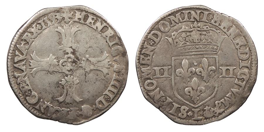 World Coins - FRANCE Henri IV 1593-L 1/4 Ecu VF